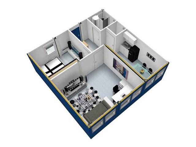 Portable cabin, Modular building - 3D for example
