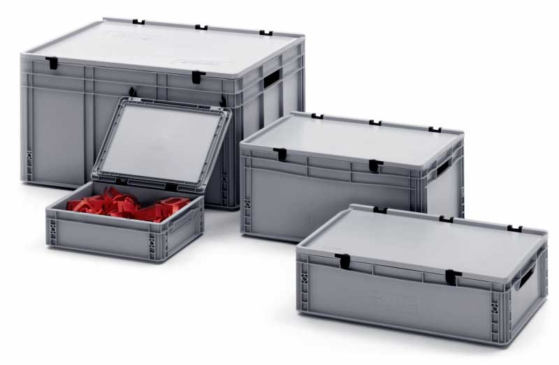 Hinged Lid Stacking Plastic Euro Containers & Case