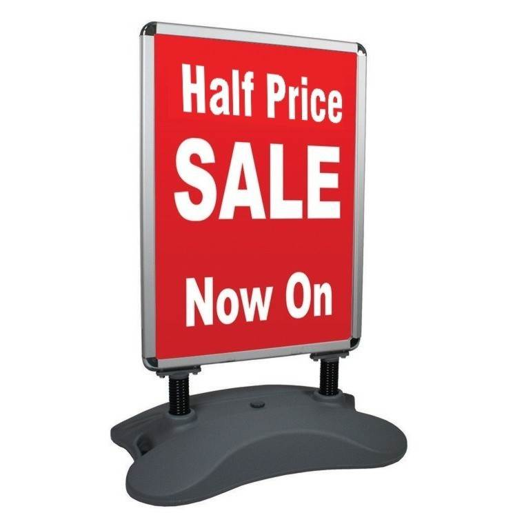 Heavy base pavement sign with snap poster frames